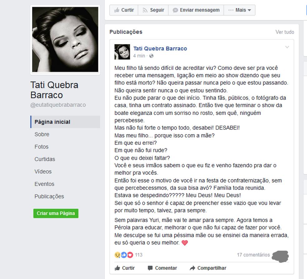 Funkeira Tati Quebra Barraco postou em sua página na rede social (Foto: Reprodução / Facebook)