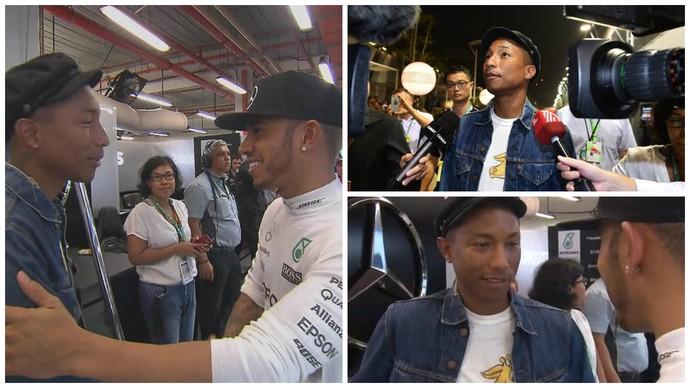Lewis Hamilton e Pharrell Williams se encontram nos boxes da Mercedes, em Cingapura (Foto: Reprodução / Twitter)