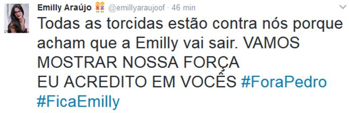 Twitter oficial de Emilly faz campanha para Pedro ser eliminado no Paredão (Foto: Arquivo Pessoal)