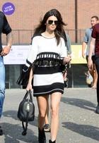 Look do dia: Kendall Jenner aposta em modelito preto e branco