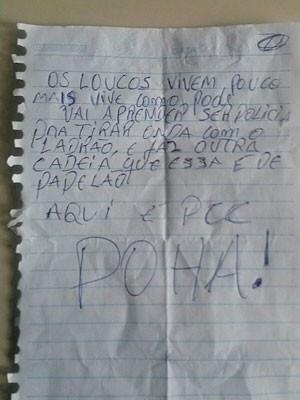 Presos deixaram bilhete com deboche antes de fuga na Bahia (Foto: Anacley Souza/Voz da Bahia )