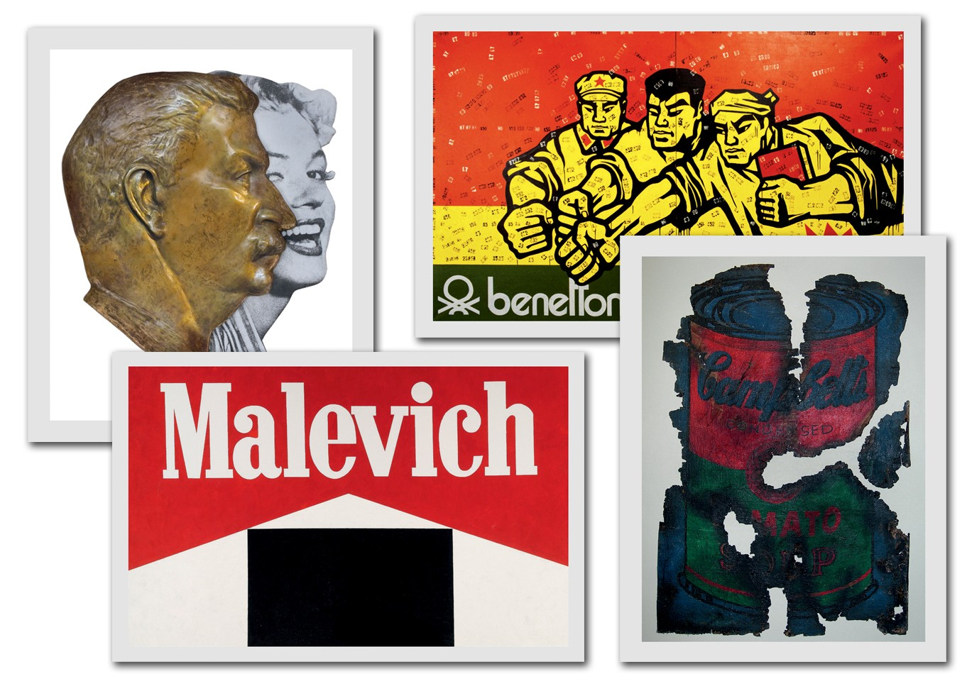 Benneton (1992), de Guangyi; Post Art: Warhol (1973), da dupla Komar e Melamid; Malevich (1987), de Kosolapov; e A Dreams Comes True (2008), de Lebedev (Foto: ©Keith Haring Foundation, 1981. Image Courtesy Of Keith Haring Foundation; ©Gary Hume, 2001. Image Courtesy Of The Collection Of Jonathan Caplan And Angus Cook; Jean Michel Basquiat/Private Collection; Mickalene Thomas/Private Collection, Geneva, Switzerland; e Divulgação)