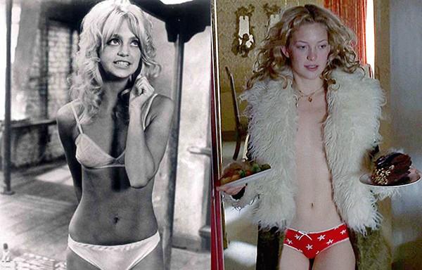 Goldie Hawn em 'Liberdade para as Borboletas' (1972) e Kate Hudson em 'Quase Famosos' (2000) (Foto: Reprodução)