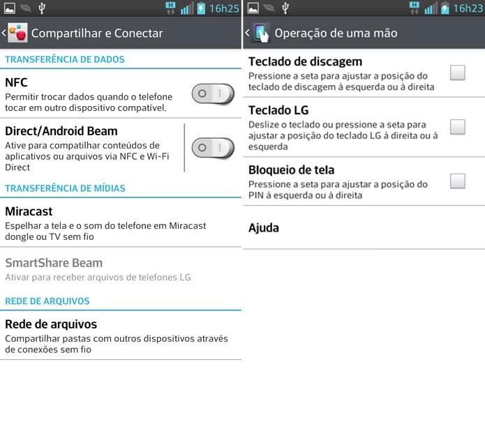 Mais funções do G Pro: NFC, Miracast e opções para uso com uma das mãos (Foto: Reprodução / Fabrício Vitorino)