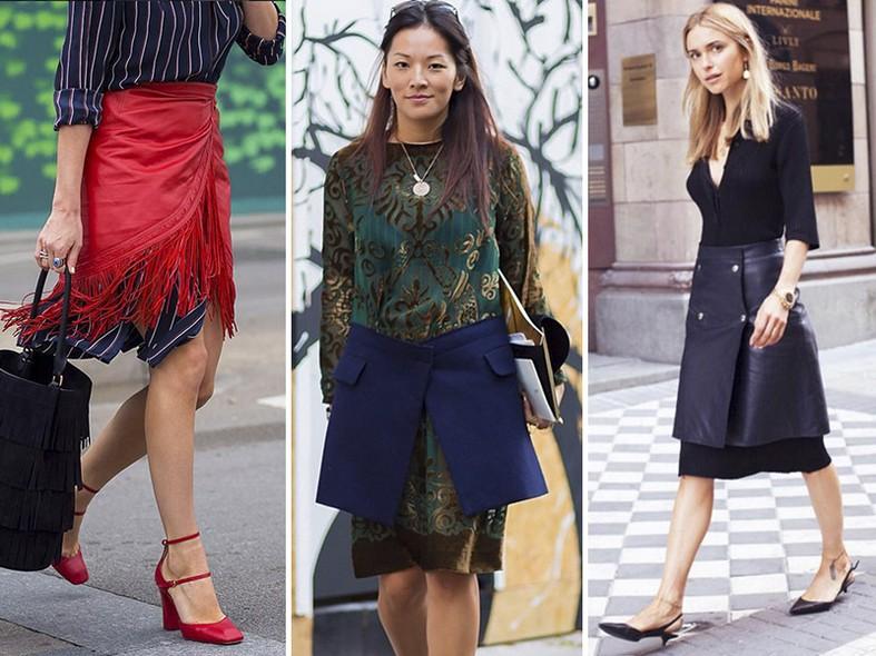 Vestir uma saia por cima do vestido ou chemise é um ótimo truque para renovar as duas peças. Deixe a barra do vestido aparente por baixo da saia e explore as diferenças de cores ou tecidos para valorizar a combinação