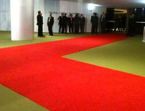 tapete vermelho para receber o Santos na Camara dos Deputados (Foto: Felippe Costa / Globoesporte.com)
