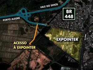 Mapa como chegar à Expointer pela Rodovia do Parque (Foto: Reprodução/RBS TV)