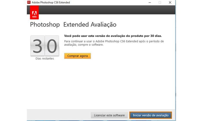Confirme o início do uso da versão trial do Photoshop CS6 no PC (Foto: Reprodução/Barbara Mannara)