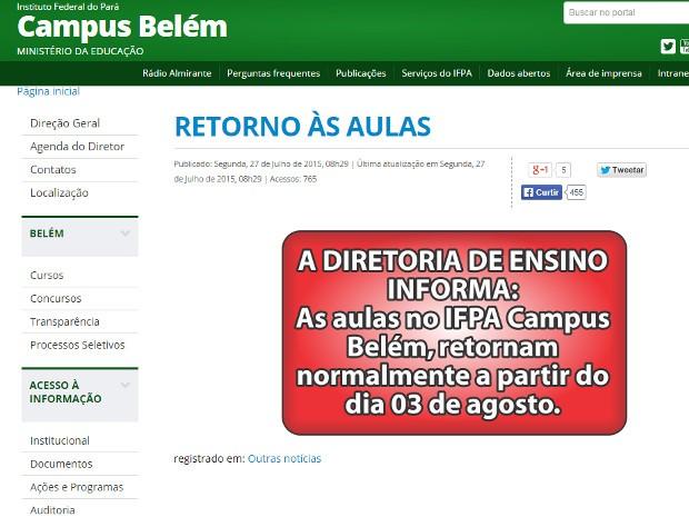 Instituto Federal do Pará informa em sua página na internet a retomada das aulas (Foto: Reprodução / IFPA)