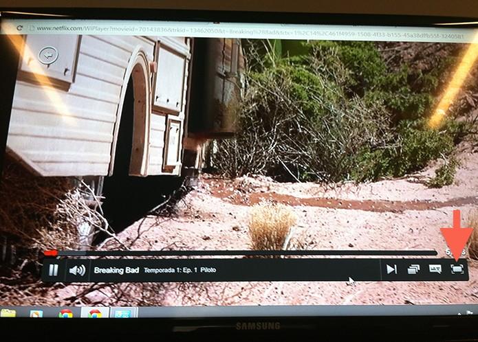 Video do Netflix emparelhado com a TV via entrada HDMI (Foto: Reprodução/Marvin Costa)