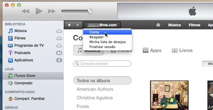 Acesse os detalhes da sua conta iTunes (Foto: Reprodução/Helito Bijora)