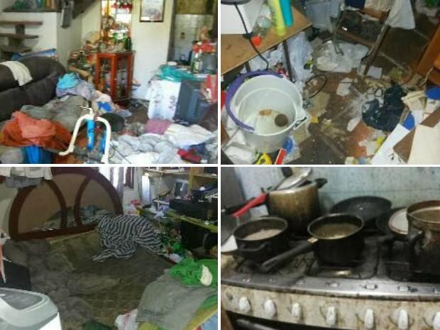 O estado da casa onde idosa foi encontrada é deplorável (Foto: Renata Cristiane)