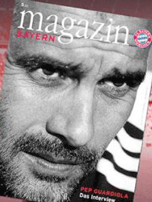 Capa da revista do Bayern : Guardiola (Foto: Site oficial do Bayern)