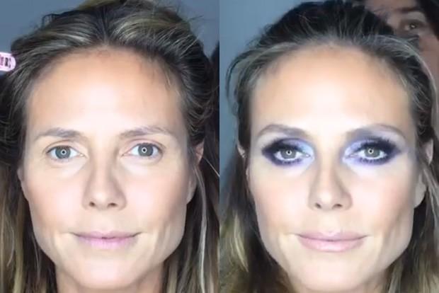 Heidi Klum sem e com maquiagem (Foto: Reprodução/Instagram)