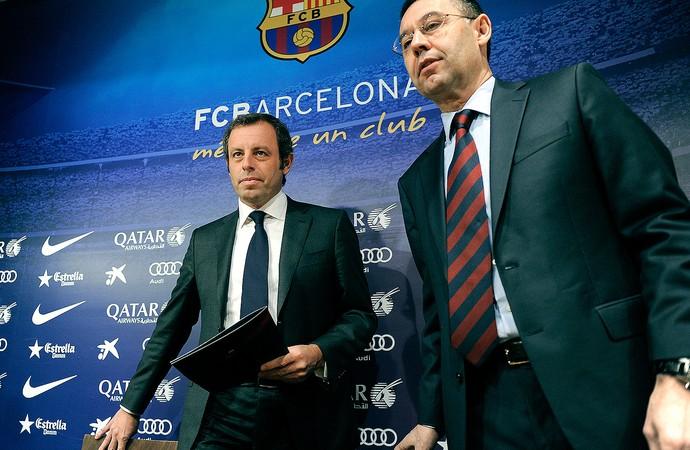 Sandro Rosell presidente do Barcelona coletiva renuncia (Foto: AFP)