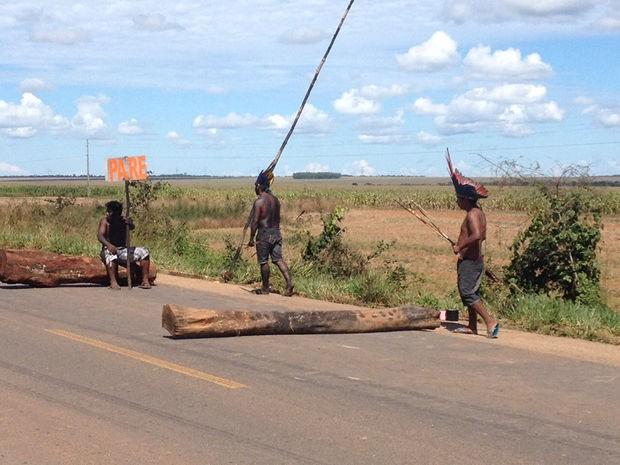 Mais de 200 indígenas estão na rodovia e pedem melhorias para as aldeias (Foto: Assessoria/PRF-MT)