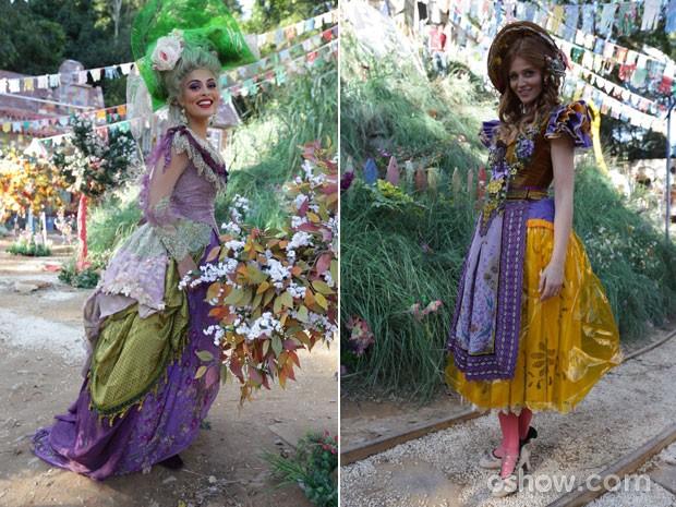 Juliana Paes e Cintia Dicker posaram com figurinos de festa encantadores (Foto: Pedro Curi/TV Globo)