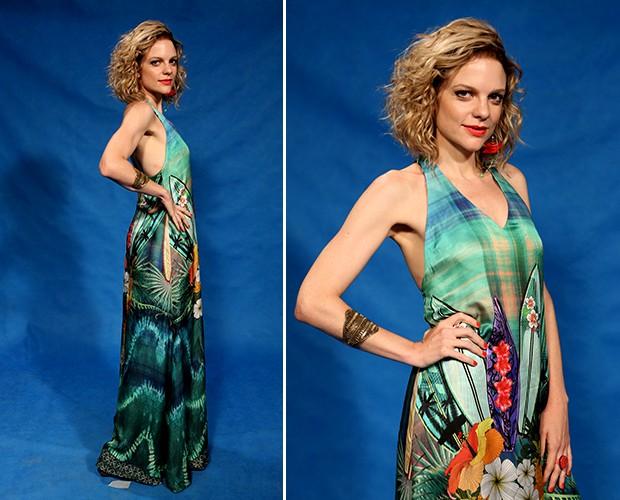 49fd11824 Maria Eduarda combinou o vestido longo e estampado com o batom vermelho e o  brindo de
