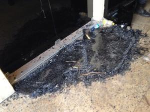 Porta de vidro da Câmara Municipal de João Pessoa foi quebrada durante tumulto (Foto: Walter Paparazzo/G1)