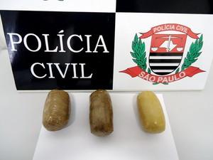 Ao todo, os três invólucros continham 480 gramas de maconha (Foto: Polícia Civil/Cedida)