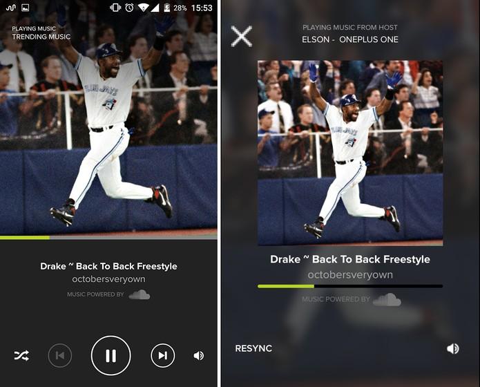 Ampme começa a reproduzir música nos dois dispositivos sincronizadamente (Foto: Reprodução/Elson de Souza)
