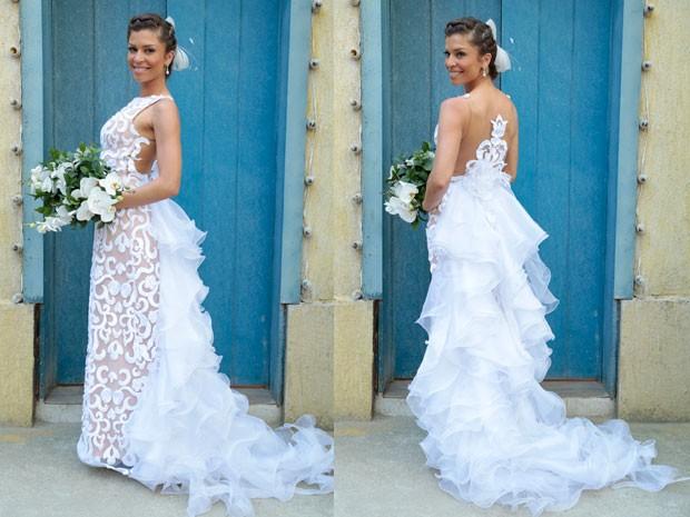 Vestido de noiva de Ester é simplesmente lindo! (Foto: Flor do Caribe/TV Globo)