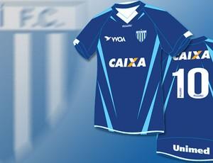 chamada camisa Avaí estreia (Foto: Editoria de Arte / Globoesporte.com)