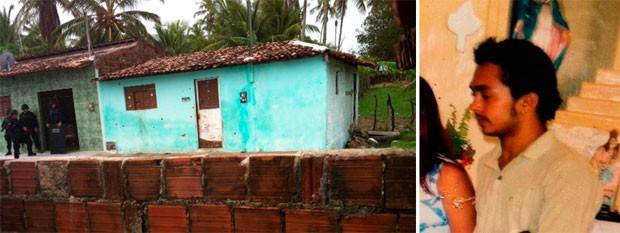Casa onde Alexsandro manteve mulher refém e a foto do próprio foragido (Foto: Fernanda Zauli/G1 e Divulgação/PM do RN)