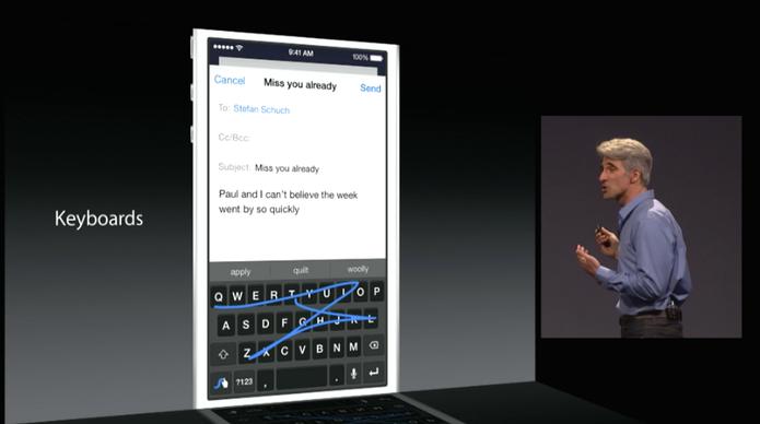 Teclado QuickType do iOS 8 (Foto: Reprodução/Apple)