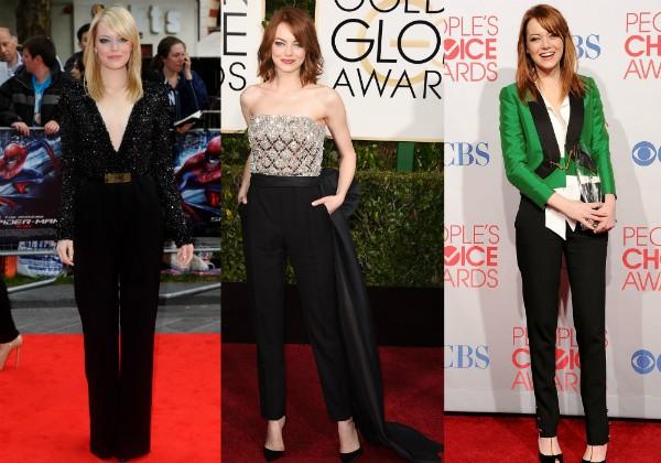 Emma Stone: A atriz aposta em macacão e calças para ir a eventos de gala (Foto: Getty Images)