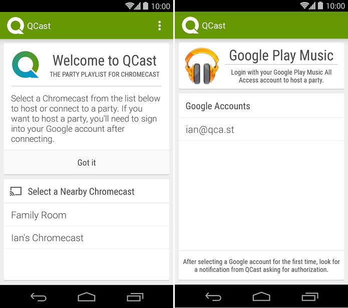QCast Music faz playlists usando o Chromecast (Foto:Reprodução/QCast Music)