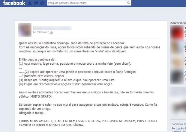 Mensagem publicada no Facebook dá dica incorreta (Foto: Reprodução)