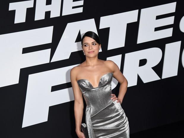 Michelle Rodriguez em première de filme em Nova York, nos Estados Unidos (Foto: Angela Weiss/ AFP)