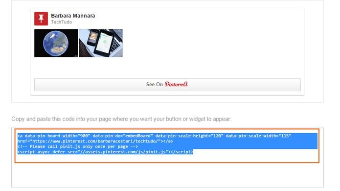 Copie o código completo para embedar o painel (Foto: Reprodução/Barbara Mannara)