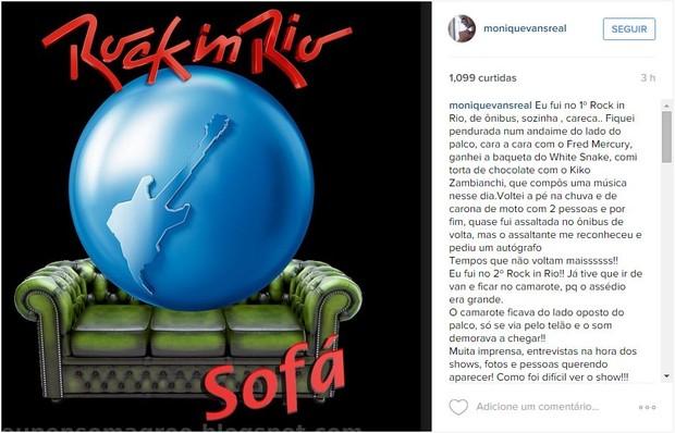 Monique Evans fala sobre Rock in Rio (Foto: Instagram / Reprodução)