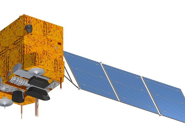 Ilustração mostra o satélite Cbers-4, que deve ser lançado em dezembro na China (Foto: Divulgação/Inpe)