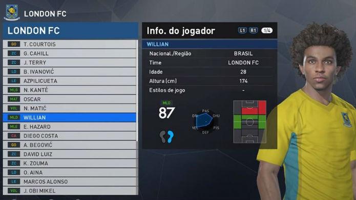 PES 2017: Willian está entre os melhores jogadores brasileiros do game (Foto: Reprodução/Thomas Schulze)