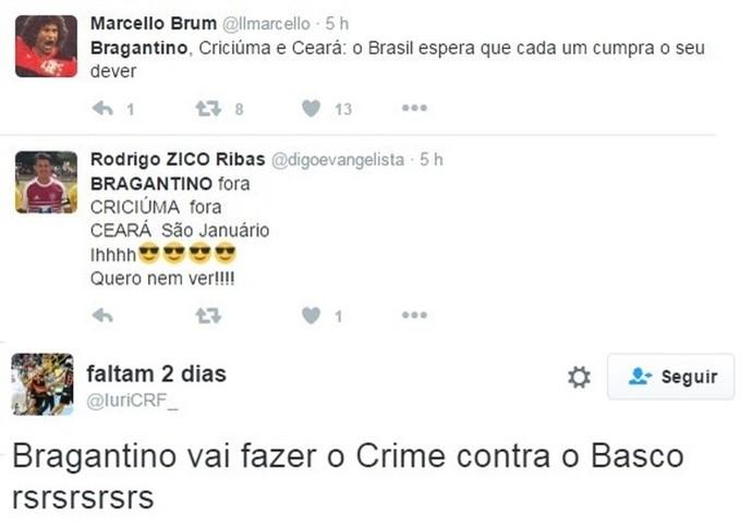 Apoio Flamengo ao Bragantino contra Vasco (Foto: Reprodução/Twitter)
