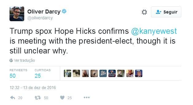 Pelo Twitter, Oliver Darcy confirma a reunião misteriosa de Kanye West com Donald Trump (Foto: Reprodução)