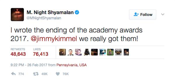 A piada do diretor M. Night Shyamalan com o final do Oscar 2017 (Foto: Twitter)