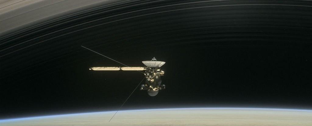 Ilustração retrata sonda Cassini, Saturno e seus anéis (Foto: NASA/JPL-Caltech)