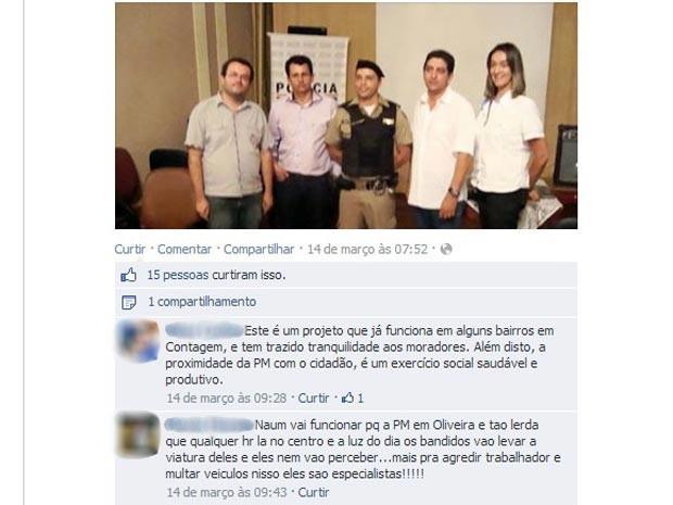 desfocado processo difamação ofensa Facebook Polícia Militar PM Oliveira MG (Foto: Reprodução/Facebook)