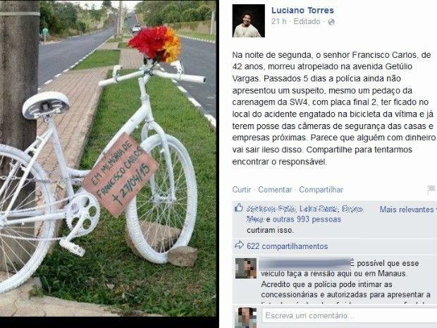 Postagem teve mais de 600 compartilhamentos no Facebook; autor do atropelamento ainda não foi identificado  (Foto: Reprodução/Facebook)