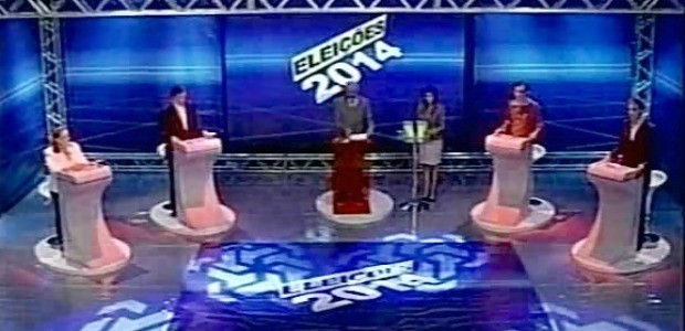 Os quatro candidatos a governador do Ceará estiveram em debate (Foto: TV Diário/Reprodução)