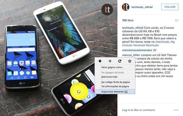 Inspetor de código HTML permite encontrar link de fotos para salvar no PC (Foto: Reprodução/Instagram)