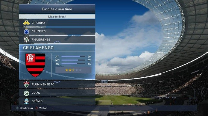 Selecione um time do Brasil para usar Allejo (Foto: Reprodução/Thiago Barros)