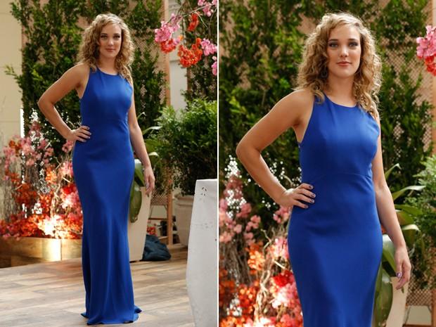 A cor forte do vestido realçou a beleza de Amanda (Adriana Birolli) (Foto: Felipe Monteiro/ Gshow)