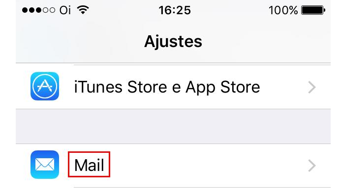 Acessando as configurações do Mail (Foto: Reprodução/Edivaldo Brito)