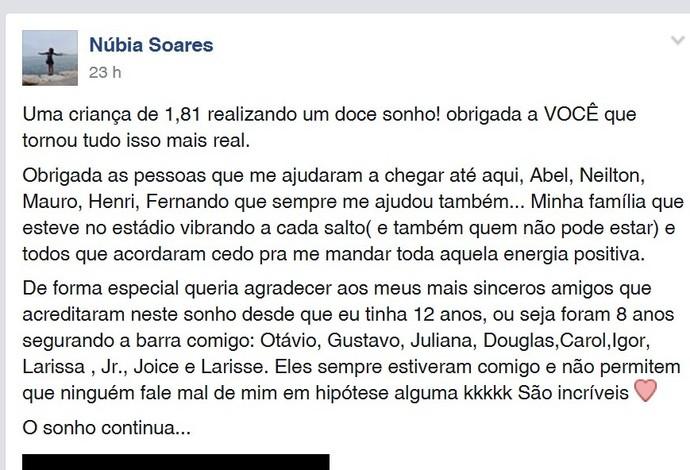 Núbia Soares (Foto: Facebook/Reprodução)