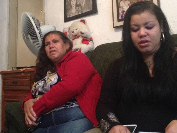 A viúva e a filha do motorista esquartejado em SP (Foto: Kleber Thomaz/G1)